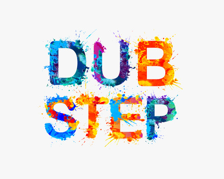 dub: Vector sign Dub step. Splash watercolor paint Illustration