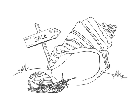 bigger: Snail wants to buy a bigger house. Vector home buying illustration