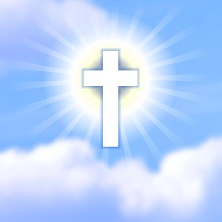 resurrección: Cruz en el cielo nublado azul. El símbolo de la resurrección de Cristo. Fondo feliz de Pascua de la iglesia cristiana ortodoxa