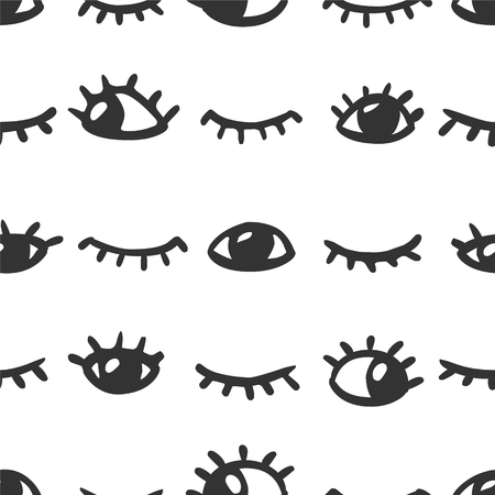 closed eyes: Seamless vector pattern - open and closed eyes Illustration