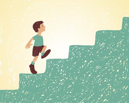 Ilustracji wektorowych. Chłopiec idzie po schodach. Droga do sukcesu