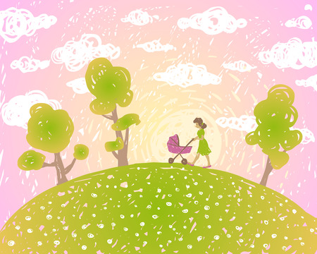 pink hills: Vector illustration. Summer sunset landscape with clouds. Mum walks with the pram. Illustration