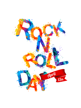 13: ROCK-N-ROLL day. April 13. Vector colorful sign Illustration