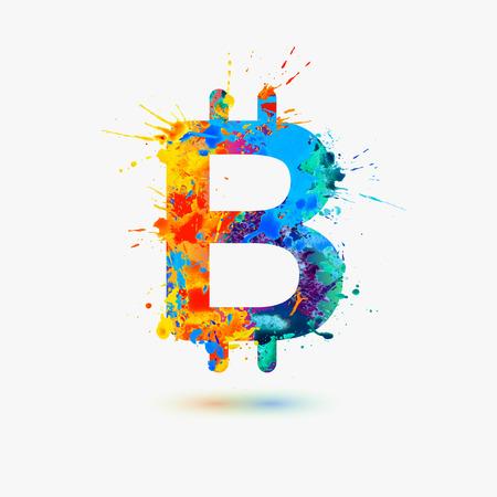 bitcoin sign. Vector watercolor rainbow splash paint