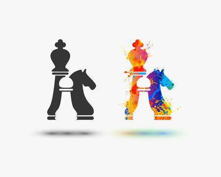 chess icon. Vector watercolor splash paint icon Illustration