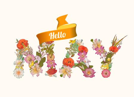 floral letters: Hello june. Vector Floral letters seasonal inscription