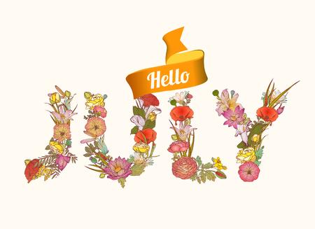 floral letters: Hello july. Vector Floral letters seasonal inscription