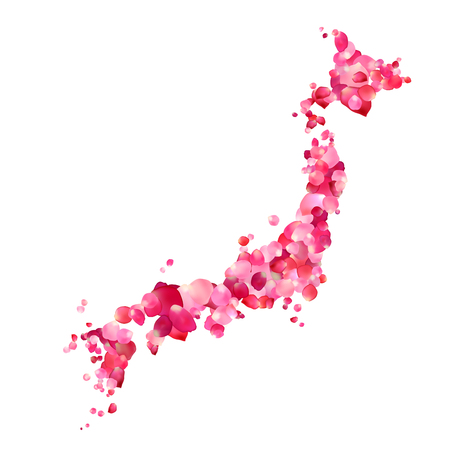 Japan. Vector Silhouette Of Japanese Islands Map Of Rose Petals ...