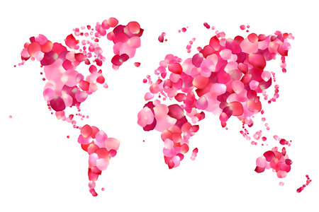 Silhouette of world map of vector pink rose petals