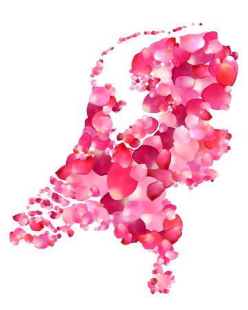 netherlands map: Holland. Vector silhouette of Netherlands map of rose petals Illustration