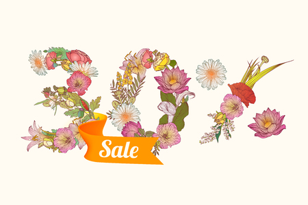 thirty: 30 (thirty) percents sale.Vector floral digits