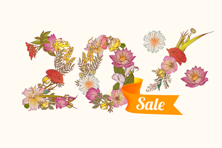 20: twenty (20) percents sale. Floral vector digits Illustration