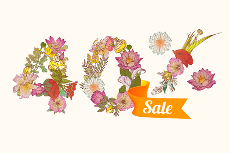 40: forty (40) percents sale. Floral vector digits