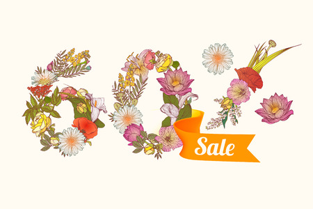 sixty: sixty (60) percents sale. Floral vector digits