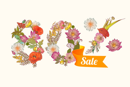80: eighty (80) percents sale. Floral vector digits