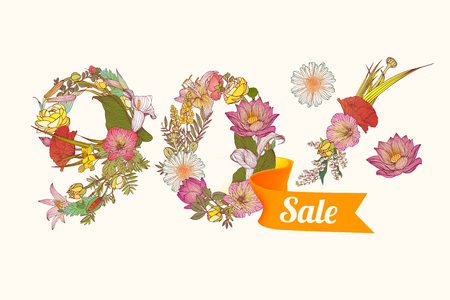 ninety: ninety (90) percents sale. Floral vector digits