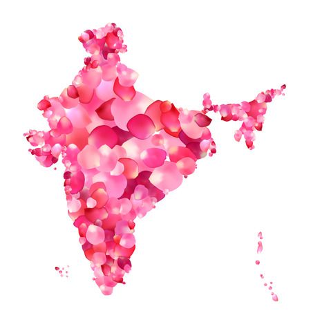 peninsula: India. Silhouette of Indian peninsula map of rose petals