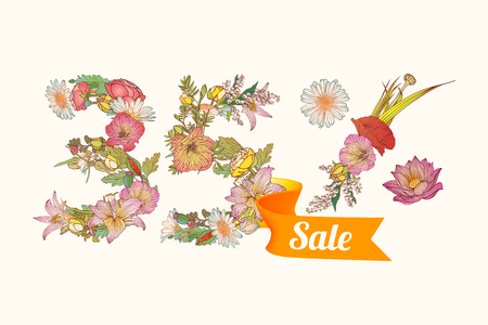 thirty five: thirty five (35) percents sale. Vector floral digits