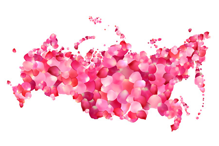 russian federation: Russia. Vector silhouette of Russian federation map of rose petals