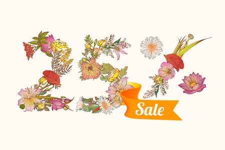 25: twenty five (25) percents sale. Vector floral digits Illustration