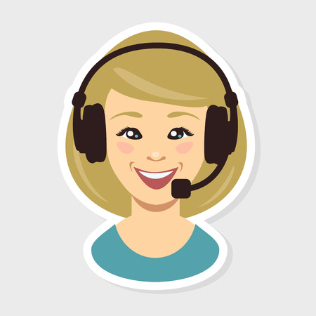 anonymity: Vector illustration. Call center. Cute woman face
