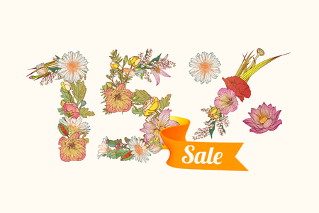15: fifteen (15) percents sale. Floral vector digits