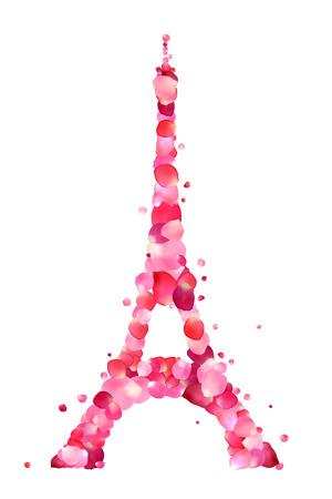 pink rose petals: Vector tower silhouette of pink rose petals