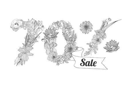 the 30: thirty (30) percents sale. Floral vector linear digits Illustration
