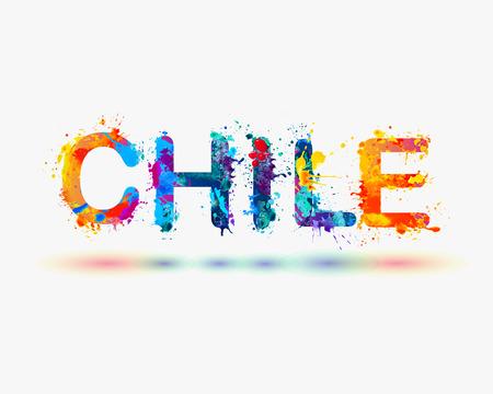 Chile - Vector watercolor Splash paint word Illusztráció
