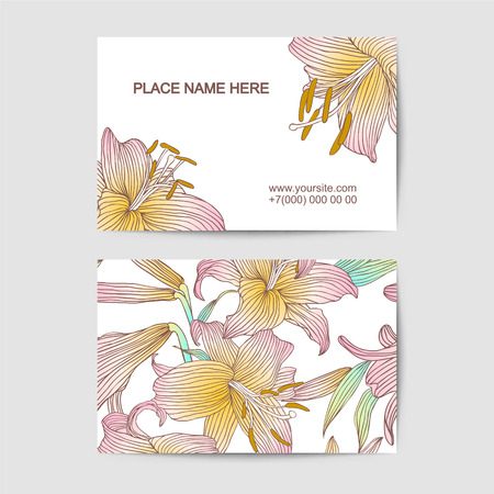 florist: Vector visit card template with lily flowers. For florist salon