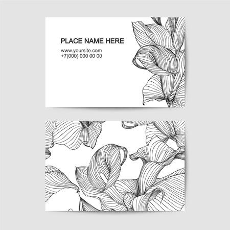 florist: Vector visit card template with calla for florist salon