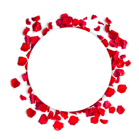 Romantic red rose petals. Frame on white background