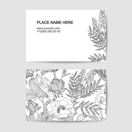 florist: visiting card template with linear flowers for florist salon