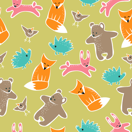 bear berry: Forest seamless pattern with cute animals. Background