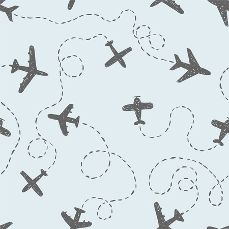 Seamless vector pattern - doodle airplanes with ways
