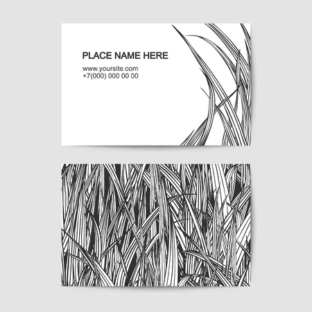 visit: visit card vector template with linear grass Illustration