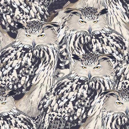 eagle owl: seamless pattern - eagle owl