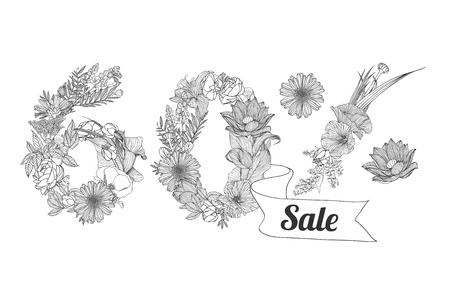 60: sixty (60) percents sale.  Floral linear digits Illustration