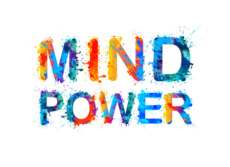 cognicion: Acuarela letras de pintura salpicaduras de inscripción. Poder de la mente.
