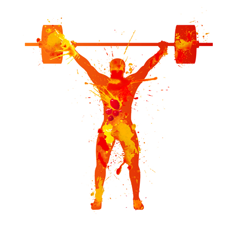 weightlifter: weightlifter. Watercolor splash paint illustration on white background