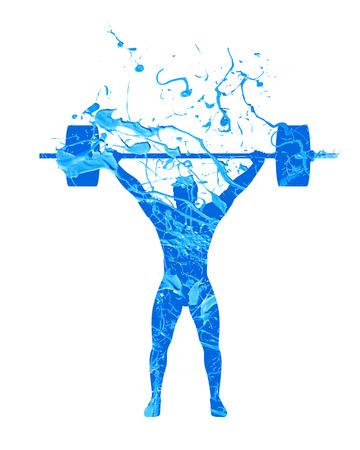 weightlifter. peinture splash bleu illustration sur fond blanc