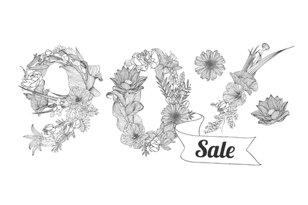 ninety: ninety (90) percents sale. Vector floral linear digits