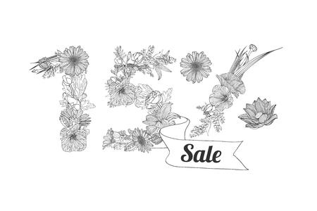 fifteen: fifteen (15) percents sale. Vector floral linear digits