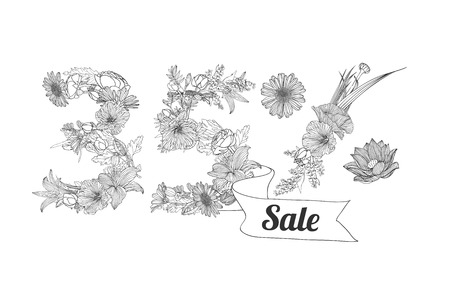 35: thirty five (35) percents sale. Vector floral linear digits