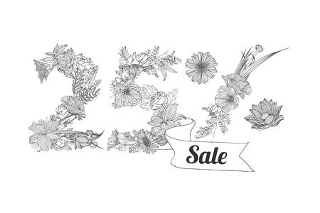 twenty five: twenty five (25) percents sale. Vector floral linear digits