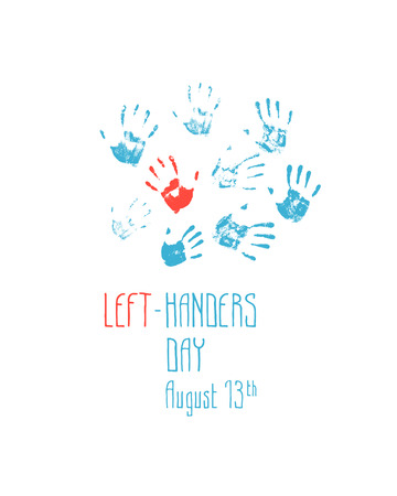 lefthand: imprint left hand among the prints right hands. Left-handers day. August 13th.