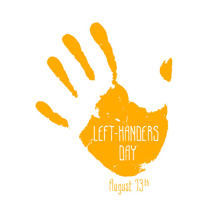left hand: Left-handers day. August 13th. imprint left hand