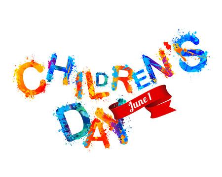 childrens day: Childrens day. June 1. Watercolor splash paint Illustration