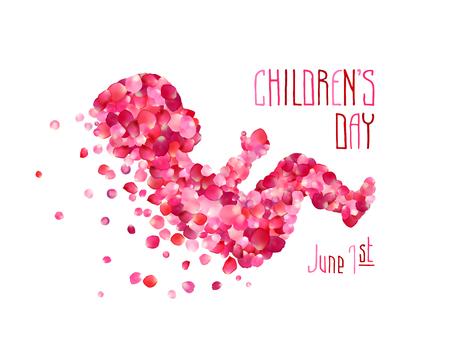 Giorno dei bambini. 1 giugno Neonato silhouette di petali di rosa rosa Archivio Fotografico - 56667897