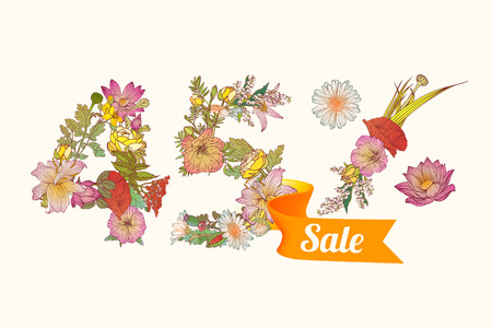 forty: forty five (45) percents sale. Vector floral digits Illustration